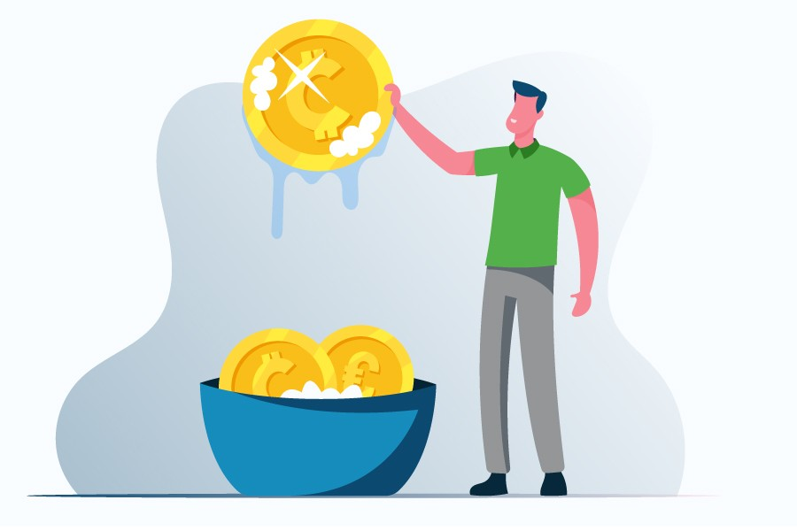 animated person cleaning his money from his personal finances